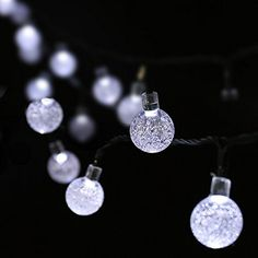 nice LuckLED Solar Powered Globe Outdoor String Lights, 20ft 30 LED Fairy Crystal Ball Christmas Lights with Light Sensor for Gardens, Path, Homes, Christmas Party and Holiday Decor(Daylight White)