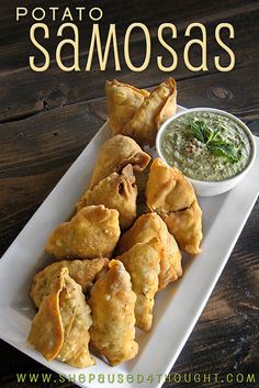 Potato Samosas with Yogurt Mint Chutney-- Note to self: Actual Dough recipe can be found at http://www.cathyarkle.co...