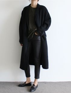 dark jeans leather pants loafers coat sweater