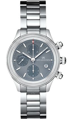 Sjöö Sandström Royal Steel Chronograph, steel bracelet, grey dial. 42 mm.