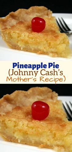 Pineapple Pie – (Johnny Cash's Mother's Recipe) - Daily Recipes - Favorite Recipes - Pie Recipes Easy Pie Recipes, Best Dessert Recipes, Easy Desserts, Sweet Recipes, Baking Recipes, Delicious Desserts, Cinnamon Recipes, Pineapple Desserts, Pineapple Recipes
