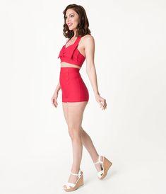 f46ca71daa44b Pin-Up Style Red Button High Waist Sailor Swim Bottoms Retro Swimwear,  Vintage Swimsuits