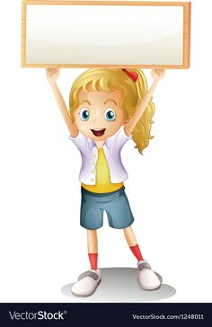 A girl carrying an empty signboard Royalty Free Vector Image Drawing Tutorials For Kids, Art Drawings For Kids, Kids Cartoon Characters, Cartoon Kids, School Border, Frame Border Design, School Frame, School Cartoon, Islamic Cartoon