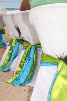 Turquoise And Lime Green Sashes I Dont Want To Do Chairs But For Wedding Pews
