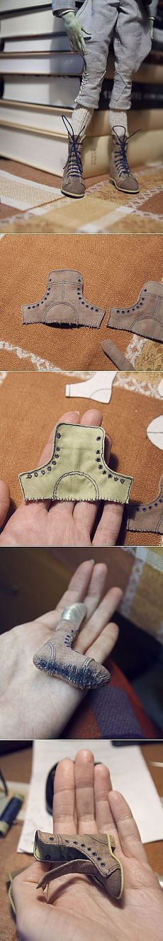 BJD lace-up boots Doll Clothes Patterns, Doll Patterns, Sewing Patterns, Sewing Ideas, Henna Patterns, Doll Crafts, Diy Doll, Barbie Clothes, Diy Clothes