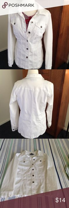 """Style & Co. jacket, white denim style, size M This adorable Style & Co. jacket is white, denim style, size medium, 98% cotton, 2% spandex, flat measurements:  pit to pit 19"""", waist 18"""", length 26"""", good used condition. Style & Co Jackets & Coats"""