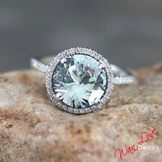 White Sapphire Diamond round 3 ct 9mm halo Engagement ring 14k white-yellow-rose gold-Custom made size-Wedding-Anniversary-Layaway plan-18k