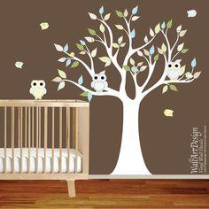 Vinyl Wall Decal Stickers Pattern Leaf Owl Tree Set Nursery Baby