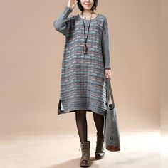 Autumn Loose Round Neck Long Sleeve Striped Retro Long Sweater