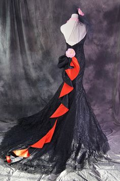Black & Red Fishtail Dress Back View