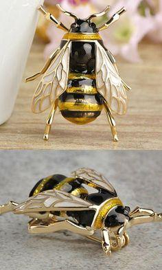 Honey Bee Brooch / Enamel Badge, #ad #Etsy #bee #bees