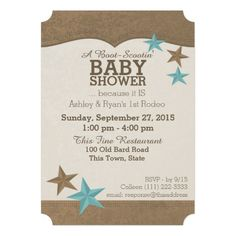 Western look country baby shower invitation with brown and teal stars.