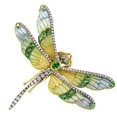 Tsavorite, diamond, plique-à-jour enamel, silver and gold dragonfly brooch.