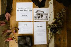 Postcard invitation. Bread Bar Wedding, Lale Florals, Laurel & Rose, Shop Primary, Dram Apothecary www.laurelandrose.com