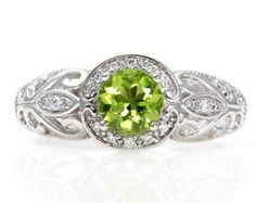 14K Vintage Peridot Engagement Ring Diamond Halo Art Nouveau Peridot Ring Custom Bridal Jewelry August Birthstone www.finditforweddings.com