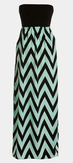 Chevron Strapless Maxi Dress // #zigzag #mint #black