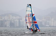 Charlotte Dobson and Sophie Ainsworth of Great Britain in action on board their 49er FX class skiff during training at Marina da Gloria on August 7, 2016 in Rio de Janeiro, Brazil.