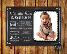 Boy First Birthday Invitation // Little Man Birthday Invitation // Blue Red Bowtie Chalkboard // Birthday Bash // Invitation with Photo by ClickNshape on Etsy https://www.etsy.com/listing/228198333/boy-first-birthday-invitation-little-man