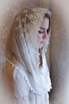Evintage Veils~ Our Lady Vintage Inspired White Lace Infinity Veil Mantilla Wedding Veils, Wedding Dresses, Wedding Hair, Catholic Veil, Orthodox Wedding, Chapel Veil, Hair Cover, Lace Veils, French Lace