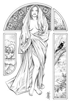 still a work in progress mucha-inspired line art.... this is going to be my entry for 's divinity contest... haven't thought of a name so far.... too tired with all the lines here.... ori...