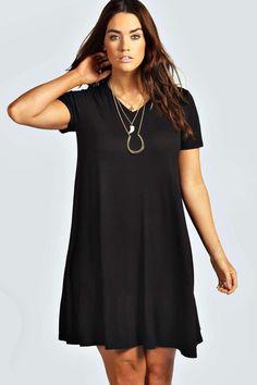 Plus Clea V Neck Swing Dress at boohoo.com