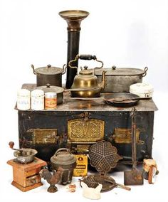 doll kitchen-stove, width: 34 cm, cm, with - Mar 2019 Kitchen Stove, Mini Kitchen, Miniature Kitchen, Miniature Houses, Victorian Dolls, Victorian Dollhouse, Vintage Dolls, Antique Wood Stove, How To Antique Wood