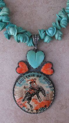Rodeo Souvenir Tin Lithohgraph HandCarved Turquoise by RistraRanch