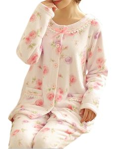 a0d76fc8a75 Cruiize Womens Fluffy Print Flannel ButtonFront Homewear Pajamas Set Pink XS     Want to know more