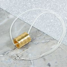 Personalised Gold Contemporary Necklace | Create Gift Love £59 A stunning contemporary necklace in gold and silver, personalised with a message of your choice. Made in the UK. http://www.creategiftlove.co.uk/collections/personalised-wooden-jewellery/products/personalised-gold-contemporary-necklace #personalised #creategiftlove
