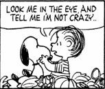 Look me in the eye, and tell me I'm not crazy.. [Snoopy, Linus, The Peanuts]