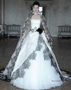 Vintage Black And White Wedding Dresses Gothic Plus Size Sweetheart Long Flowers Appliques bridal Gowns 2015 Vestidos Noivas