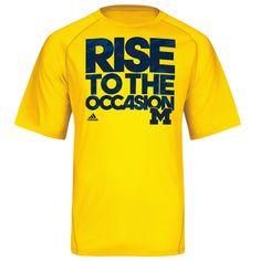 Adidas University of Michigan Basketball Yellow ''RISE'' Tee