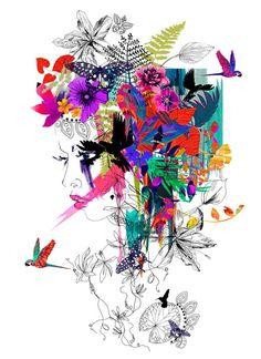 Tropical Girl // A2 Giclée print // FASHION by hollysharpe on Etsy, £45.00