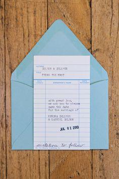 Library Card Wedding Invitation Sample by kendradolson on Etsy