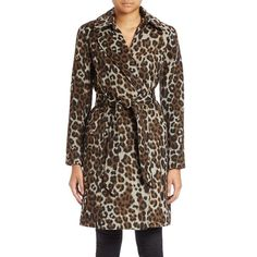 Ellen Tracy -Print Wrap Coat ($210) ❤ liked on Polyvore featuring outerwear, coats, leopard, long sleeve coat, leopard coat, brown coat, ellen tracy coats and leopard print coat
