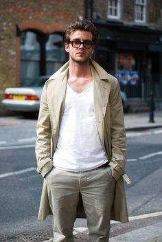 khakis w/ rad trench & white v-neck #fashion // #men // #mensfashion