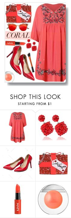 """""""Coral Style"""" by simona-altobelli ❤ liked on Polyvore featuring Karl Lagerfeld, NYX and Estée Lauder"""