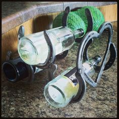 My wine holders. Homemade for my next Red Neck wine glass party. Made in Montana