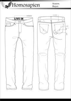 Men's Denim - Flat Sketch