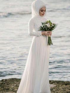 Beautiful Prom Dresses, A-Line Jewel Long Sleeves Floor-Length With Applique Chiffon Wedding Dresses Jennifer Bridal Tesettür Gelinlik Modelleri 2020 - Tesettür Modelleri ve Modası 2019 ve 2020 Wedding Dress Chiffon, Muslim Wedding Dresses, Wedding Dresses For Sale, Wedding Gowns, Trendy Wedding, Bridal Gowns, Muslim Brides, Chiffon Dresses, Wedding Summer