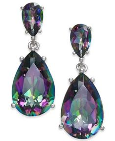 Semi Precious Gemstone Teardrop Drop Earrings (7 ct. t.w.) in Sterling Silver (available in Smoky Topaz, Green Amethyst,