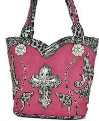 Pink Cross Bling Purse with Leopard Trim | Country Bling