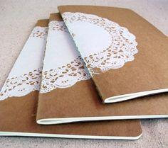 A journal with a doiley... my inner geek spins cartwheels!