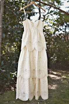 scalloped tiered dress in white