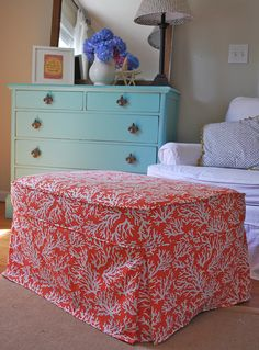 coral ottoman slipcover by The Slipcover Girl, via Flickr