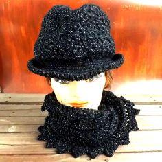 Black Crochet Hat Womens Hat Womens Crochet Hat ANDY Fedora Hat Infinity Scarf Black Hat Sparkle Black Crochet Scarf by strawberrycouture by #strawberrycouture on #Etsy