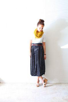 Vintage polka dot black skirt