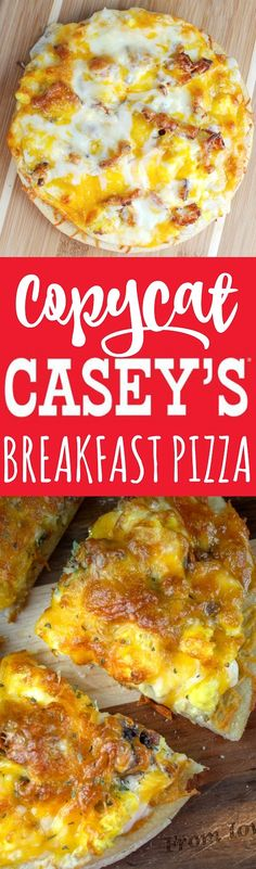 Casey's Breakfast Pizza is an Iowa staple. Every time I go home - I make sure to stop at least once for a slice or two! I couldn't wait to make my own copycat version and serve it to friends and family! It's a family favorite! Caseys Breakfast Pizza, Bacon Breakfast, Breakfast Time, Breakfast Dishes, Mexican Breakfast, Breakfast Sandwiches, Breakfast Cereal, Breakfast Casserole, Breakfast Ideas