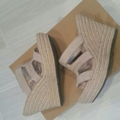 UGG women's wedges 'Tawney' UGG women's wedges size 8. Extremely comfortable and perfect for summer! Light nude/sand color. Brand new in box. Heel height about 4 inches UGG Shoes Wedges