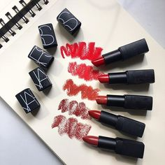 Nars red lipsticks - from top to bottom: future red, jungle red, joyous red, vip red, banned red